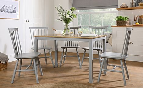 Milton Painted Grey and Oak Dining Table with 6 Pendle Grey Chairs