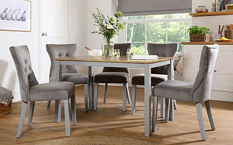 Milton Painted Grey and Oak Dining Table with 4 Bewley Grey Velvet Chairs