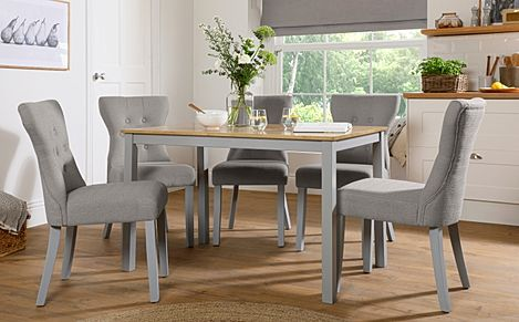 Milton Painted Grey and Oak Dining Table with 4 Bewley Light Grey Fabric Chairs