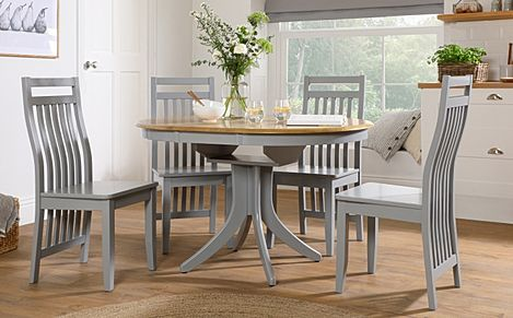 Hudson Round Painted Grey and Oak Extending Dining Table with 4 Java Grey Chairs