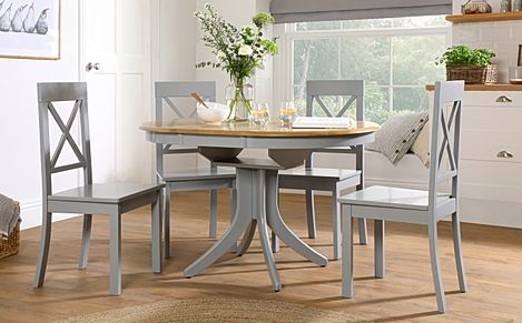 Hudson Round Painted Grey and Oak Extending Dining Table With 4 Kendal Grey Chairs