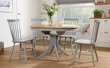 Hudson Round Painted Grey and Oak Extending Dining Table with 4 Pendle Grey Chairs