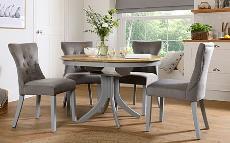 Hudson Round Painted Grey and Oak Extending Dining Table with 6 Bewley Grey Velvet Chairs