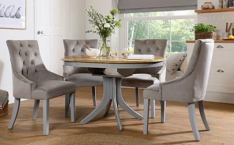Hudson Round Painted Grey and Oak Extending Dining Table With 4 Duke Grey Velvet Chairs