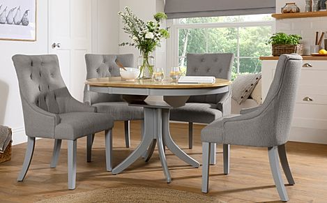 Hudson Round Painted Grey and Oak Extending Dining Table With 4 Duke Light Grey Fabric Chairs