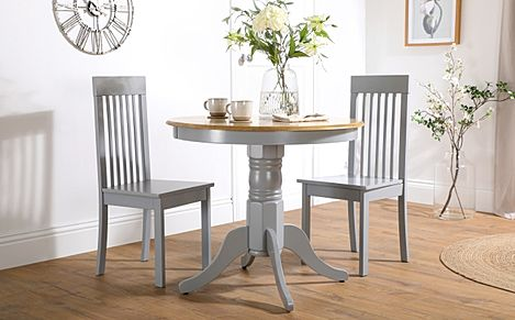 Kingston Round Painted Grey and Oak Dining Table With 2 Oxford Grey Chairs