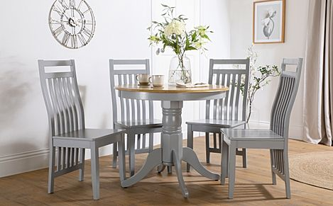 Kingston Round Painted Grey and Oak Dining Table with 4 Java Grey Chairs