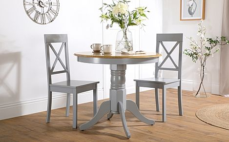 Kingston Round Painted Grey and Oak Dining Table with 2 Kendal Grey Chairs