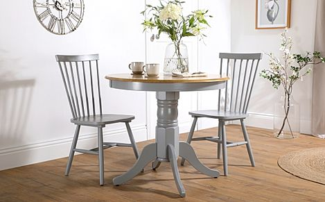 Kingston Round Painted Grey and Oak Dining Table with 2 Pendle Grey Chairs