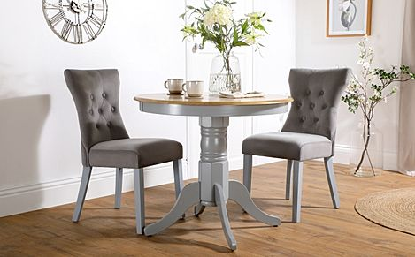 Kingston Round Painted Grey and Oak Dining Table with 2 Bewley Grey Velvet Chairs