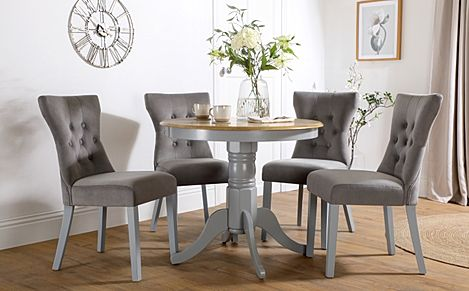 Kingston Round Painted Grey and Oak Dining Table with 4 Bewley Grey Velvet Chairs