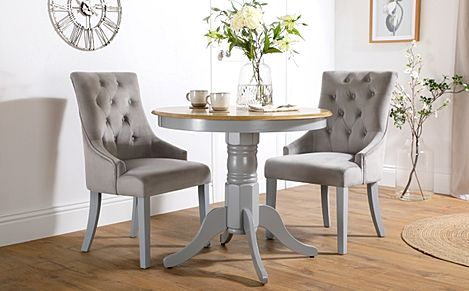 Kingston Round Painted Grey and Oak Dining Table With 2 Duke Grey Velvet Chairs