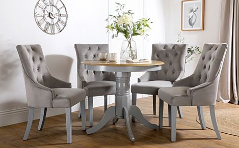 Kingston Round Painted Grey and Oak Dining Table With 4 Duke Grey Velvet Chairs