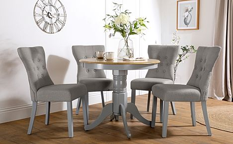 Kingston Round Painted Grey and Oak Dining Table with 4 Bewley Light Grey Fabric Chairs