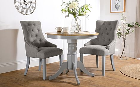 Kingston Round Painted Grey and Oak Dining Table With 2 Duke Light Grey Fabric Chairs