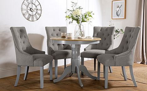 Kingston Round Painted Grey and Oak Dining Table With 4 Duke Light Grey Fabric Chairs