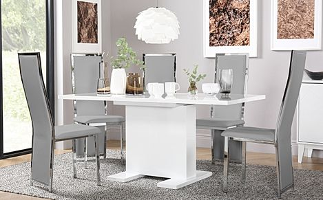 Osaka White High Gloss Extending Dining Table with 6 Celeste Light Grey Leather Chairs
