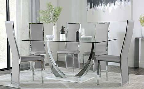 Peake Glass and Chrome Dining Table (White Gloss Base) with 6 Celeste Light Grey Leather Chairs