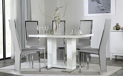 Joule White High Gloss Dining Table with 6 Celeste Light Grey Leather Chairs