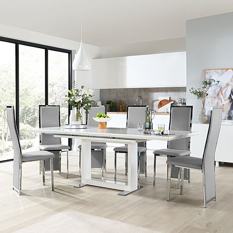 Tokyo White High Gloss Extending Dining Table with 6 Celeste Light Grey Leather Chairs
