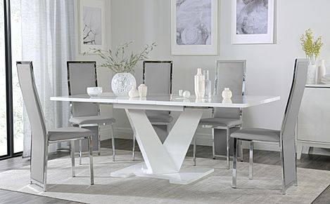 Turin White High Gloss Extending Dining Table with 6 Celeste Light Grey Leather Chairs