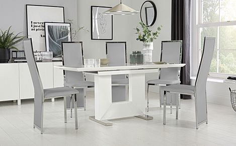 Florence White High Gloss Extending Dining Table with 6 Celeste Light Grey Leather Chairs