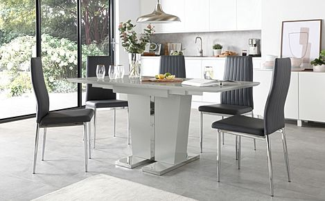 Vienna Grey High Gloss Extending Dining Table with 4 Leon Grey Leather Chairs