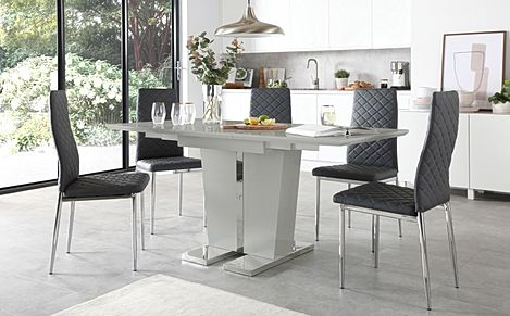 Vienna Grey High Gloss Extending Dining Table with 4 Renzo Grey Leather Chairs