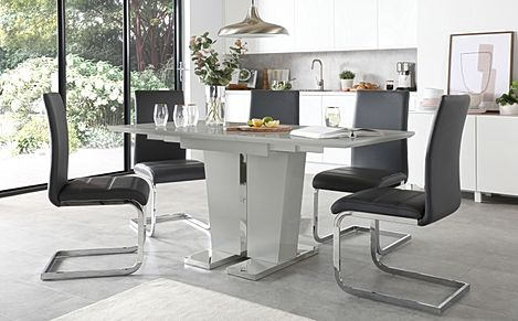 Vienna Grey High Gloss Extending Dining Table with 4 Perth Grey Leather Chairs