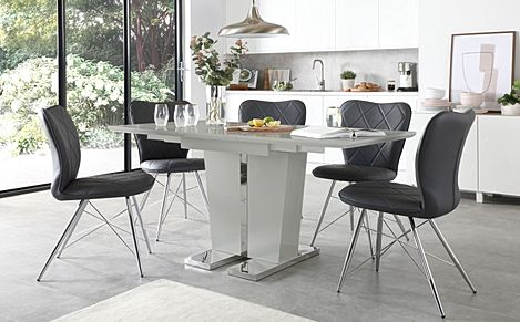 Vienna Light Grey High Gloss Extending Dining Table with 4 Lucca Grey Leather Chairs