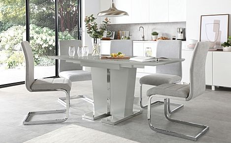 Vienna Grey High Gloss Extending Dining Table with 6 Perth Dove Grey Fabric Chairs