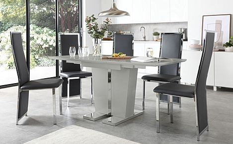 Vienna Grey High Gloss Extending Dining Table with 6 Celeste Grey Leather Chairs