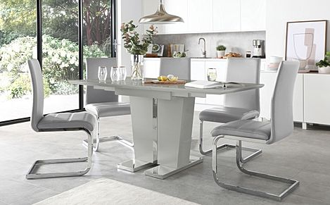Vienna Grey High Gloss Extending Dining Table with 4 Perth Light Grey Leather Chairs