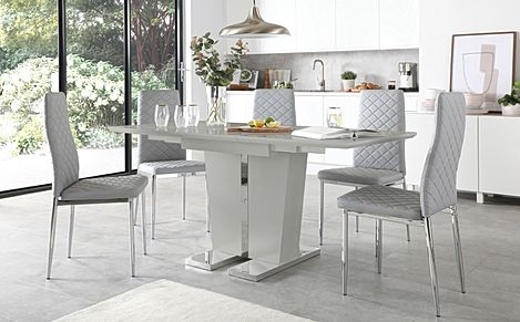 Vienna Light Grey High Gloss Extending Dining Table with 6 Renzo Light Grey Leather Chairs