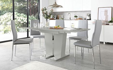 Vienna Light Grey High Gloss Extending Dining Table with 4 Leon Light Grey Leather Chairs