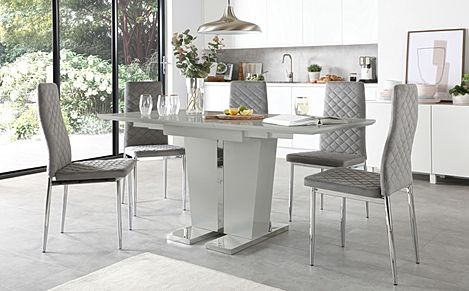 Vienna Grey High Gloss Extending Dining Table with 4 Renzo Grey Velvet Chairs