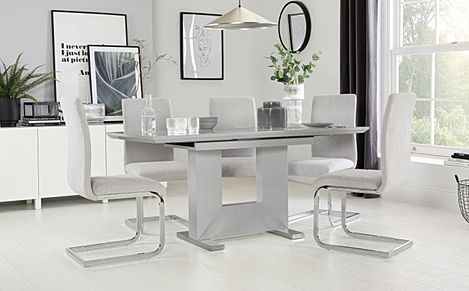 Florence Grey High Gloss Extending Dining Table with 6 Perth Dove Grey Fabric Chairs