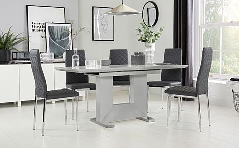 Florence Grey High Gloss Extending Dining Table with 6 Renzo Grey Leather Chairs