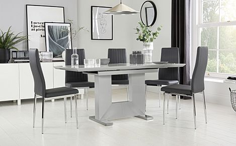 Florence Grey High Gloss Extending Dining Table with 4 Leon Grey Leather Chairs