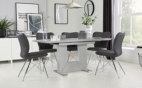 Florence Light Grey High Gloss Extending Dining Table with 6 Lucca Grey Leather Chairs