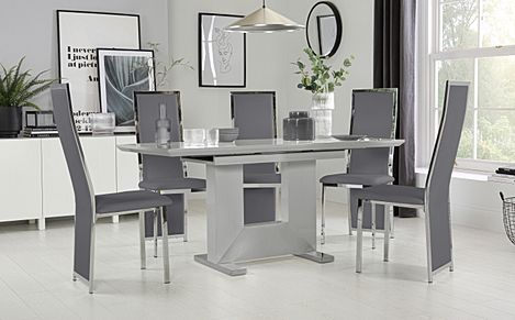Florence Grey High Gloss Extending Dining Table with 6 Celeste Grey Leather Chairs