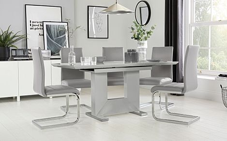 Florence Grey High Gloss Extending Dining Table with 6 Perth Light Grey Leather Chairs