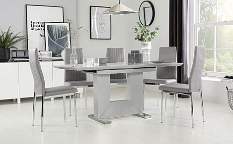 Florence Light Grey High Gloss Extending Dining Table with 4 Leon Light Grey Leather Chairs