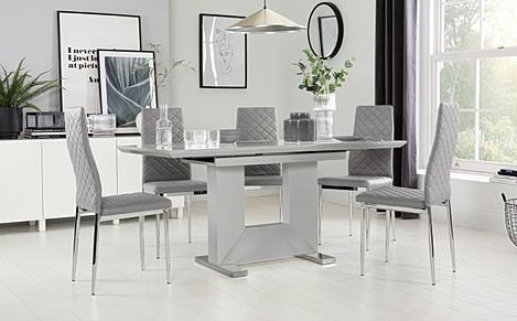 Florence Grey High Gloss Extending Dining Table with 6 Renzo Light Grey Leather Chairs
