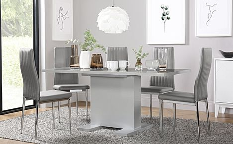 Osaka Grey High Gloss Extending Dining Table with 6 Leon Light Grey Leather Chairs