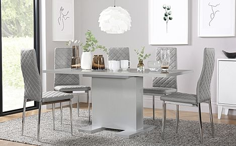 Osaka Grey High Gloss Extending Dining Table with 6 Renzo Light Grey Leather Chairs