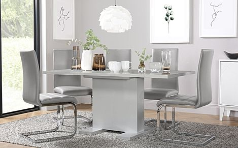 Osaka Grey High Gloss Extending Dining Table with 4 Perth Light Grey Leather Chairs