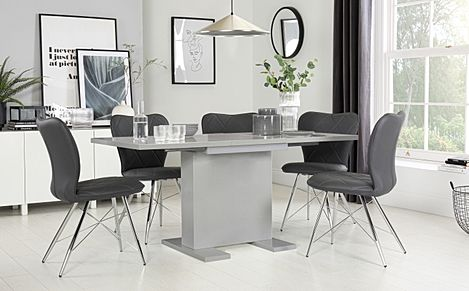 Osaka Light Grey High Gloss Extending Dining Table with 4 Lucca Grey Leather Chairs