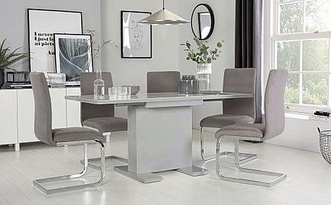 Osaka Grey High Gloss Extending Dining Table with 6 Perth Grey Velvet Chairs