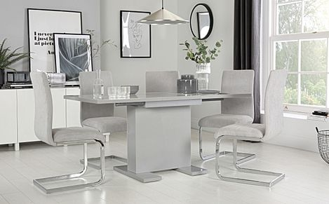 Osaka Grey High Gloss Extending Dining Table with 6 Perth Dove Grey Fabric Chairs